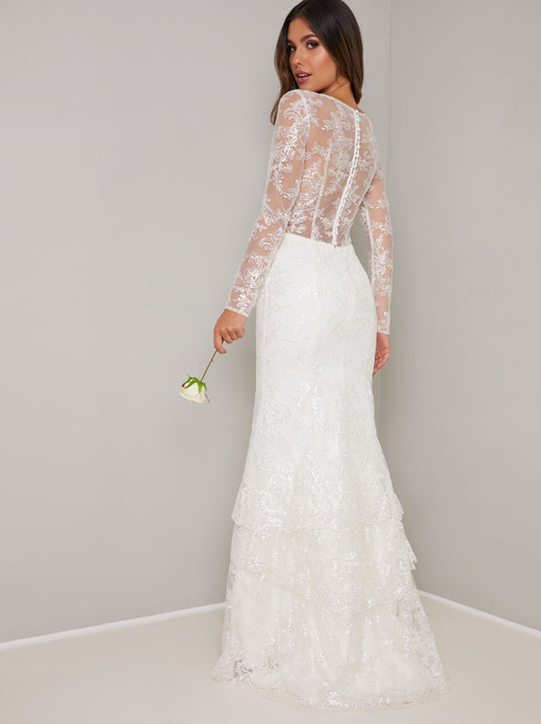 Bridal Lace Long Sleeved Tiered Wedding Dress in White