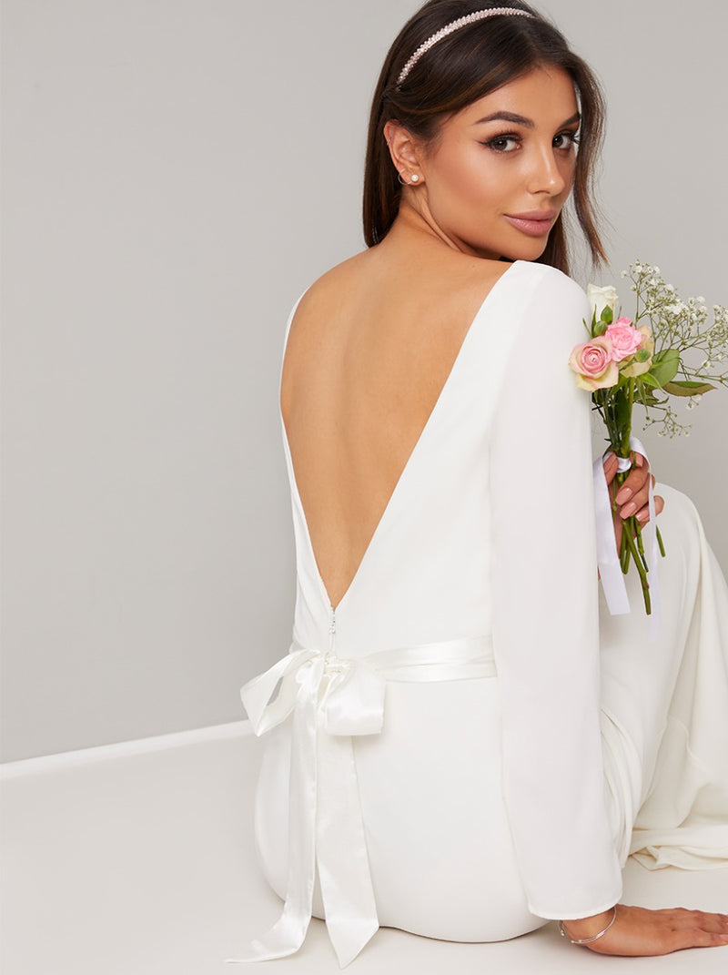 Bridal Open Back Bow Sash Detail Wedding Dress in White