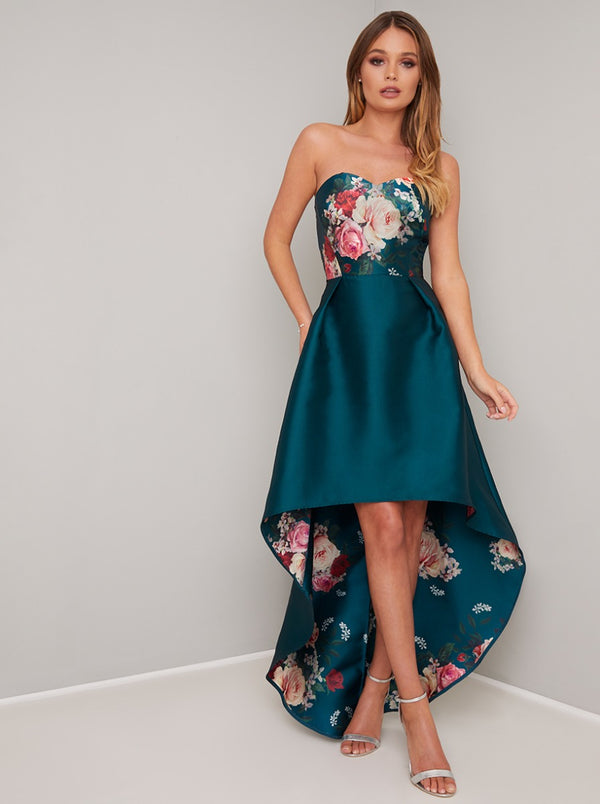 Floral Print Dip Hem Midi Dress in Green