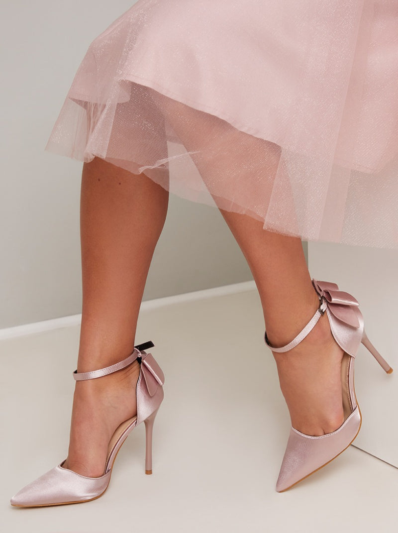 High Heel Bow Detail Court Shoe in Pink