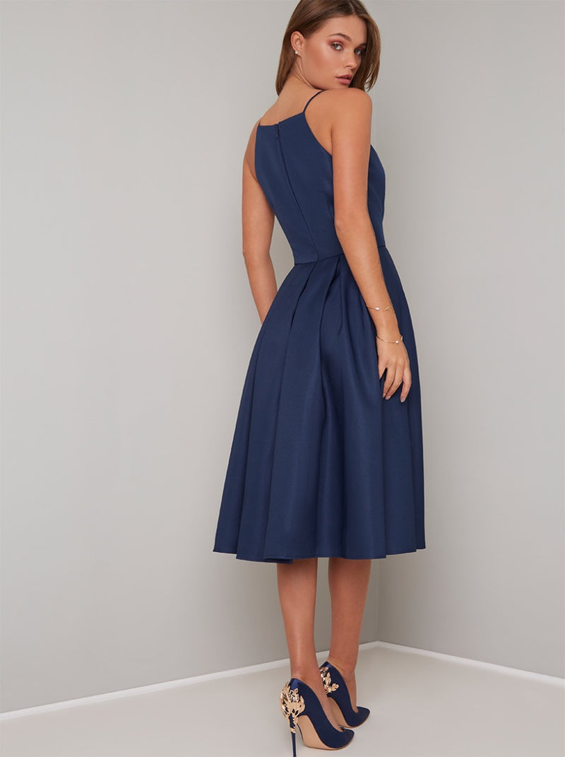 High Neck Cami Strap Midi Dress In Blue