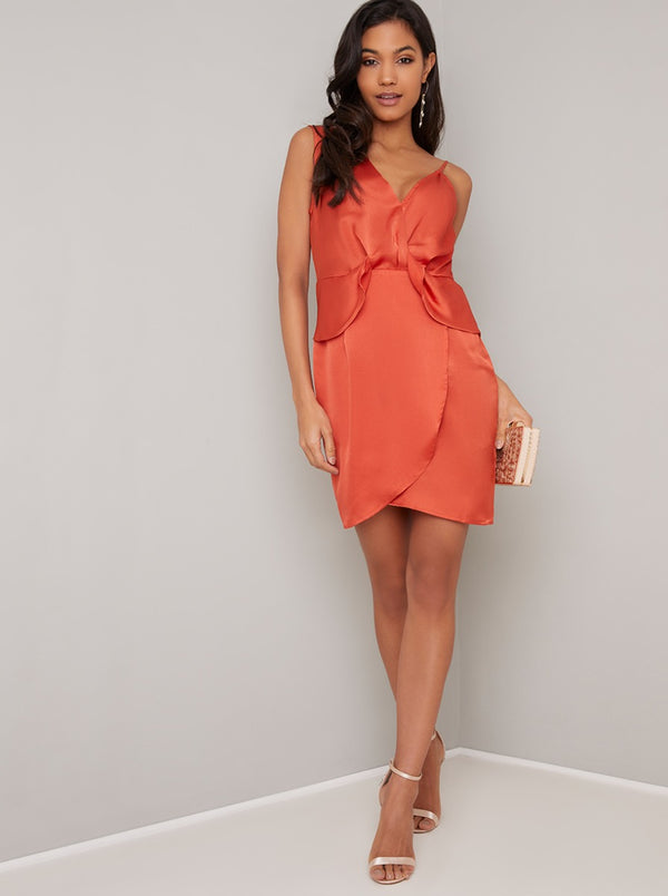 Silky Wrap Style Cami Mini Dress in Orange