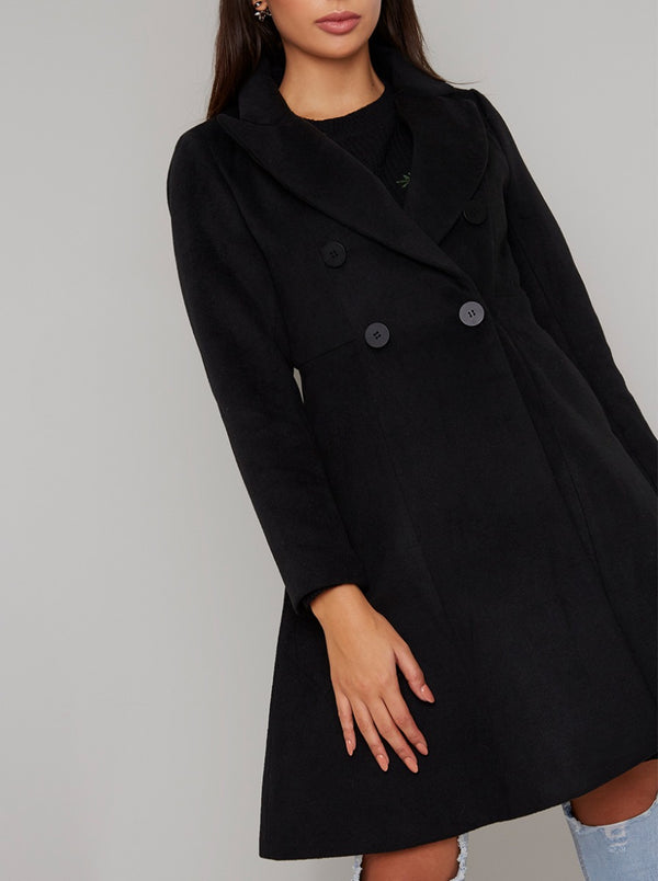 Fit And Flare Double Breasted Coat in Black