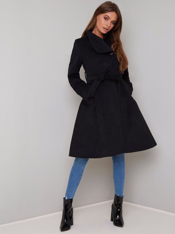 Longline High Neck Wrap Coat in Black