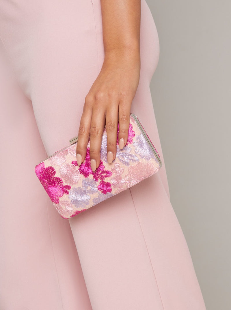 Embroidered Floral Clutch Bag in Pink