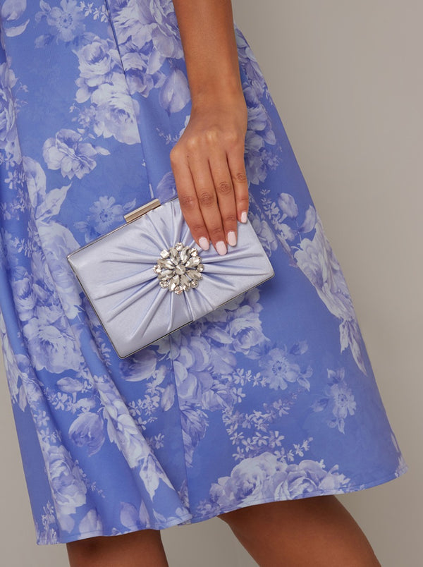 Satin Finish Evening Clutch Bag in Blue