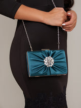 Satin Embellished Clutch Bag in Green
