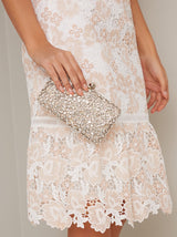 Jewelled Satin Finish Clutch Bag in Neutral