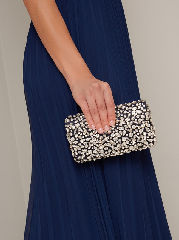 Jewelled Clutch Bag in Blue