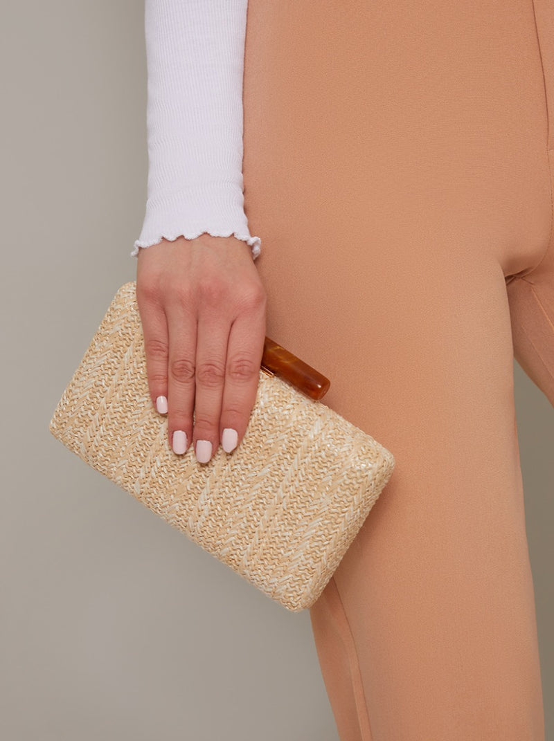 Straw Finish Clutch Bag in Cream