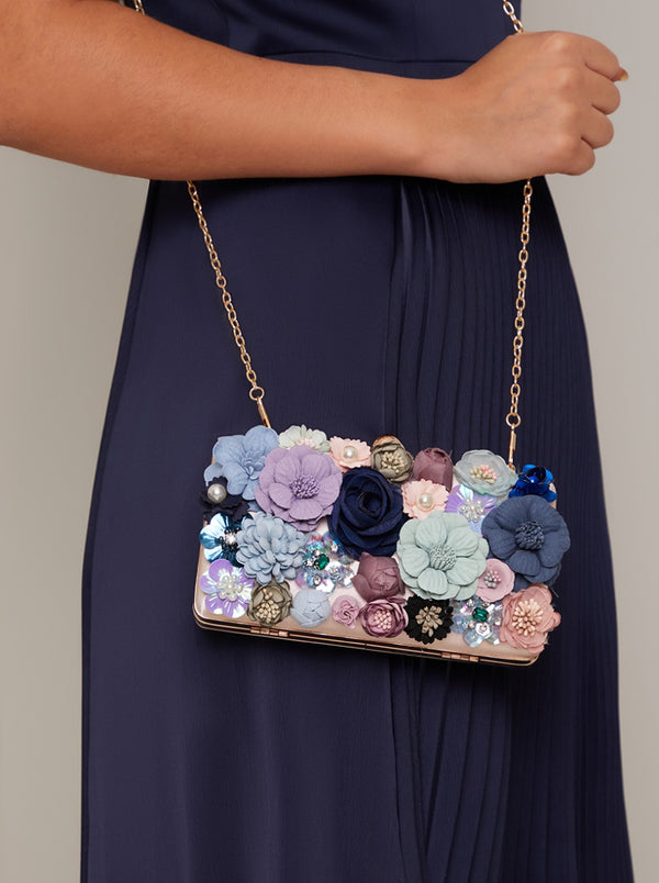 Clutch Bag with 3D Floral Design