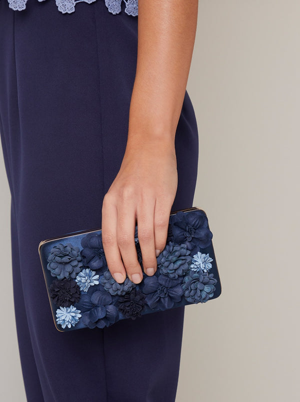 3D Floral Clutch Bag in Blue