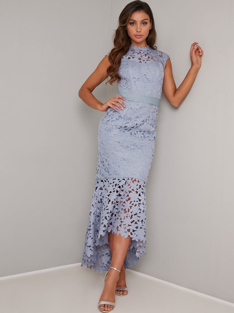 Lace Laser Cut Bodycon Frill Hem Midi Dress in Blue