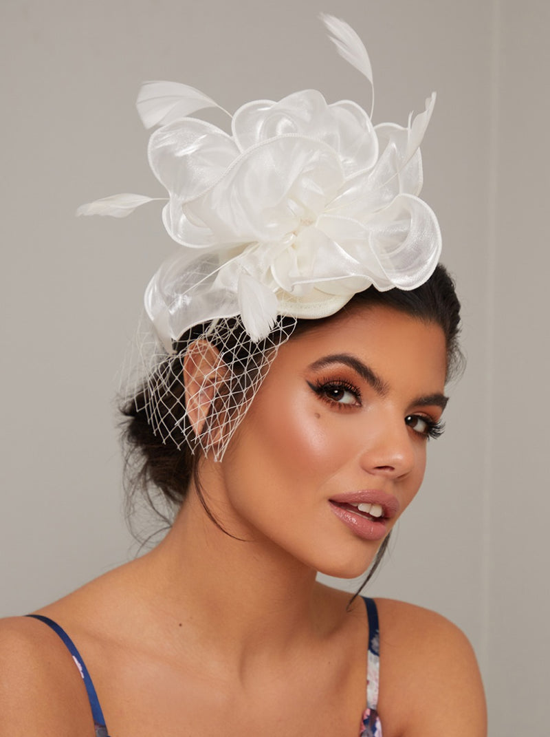 Flower Fascinator Headband Hat with Feather in Cream