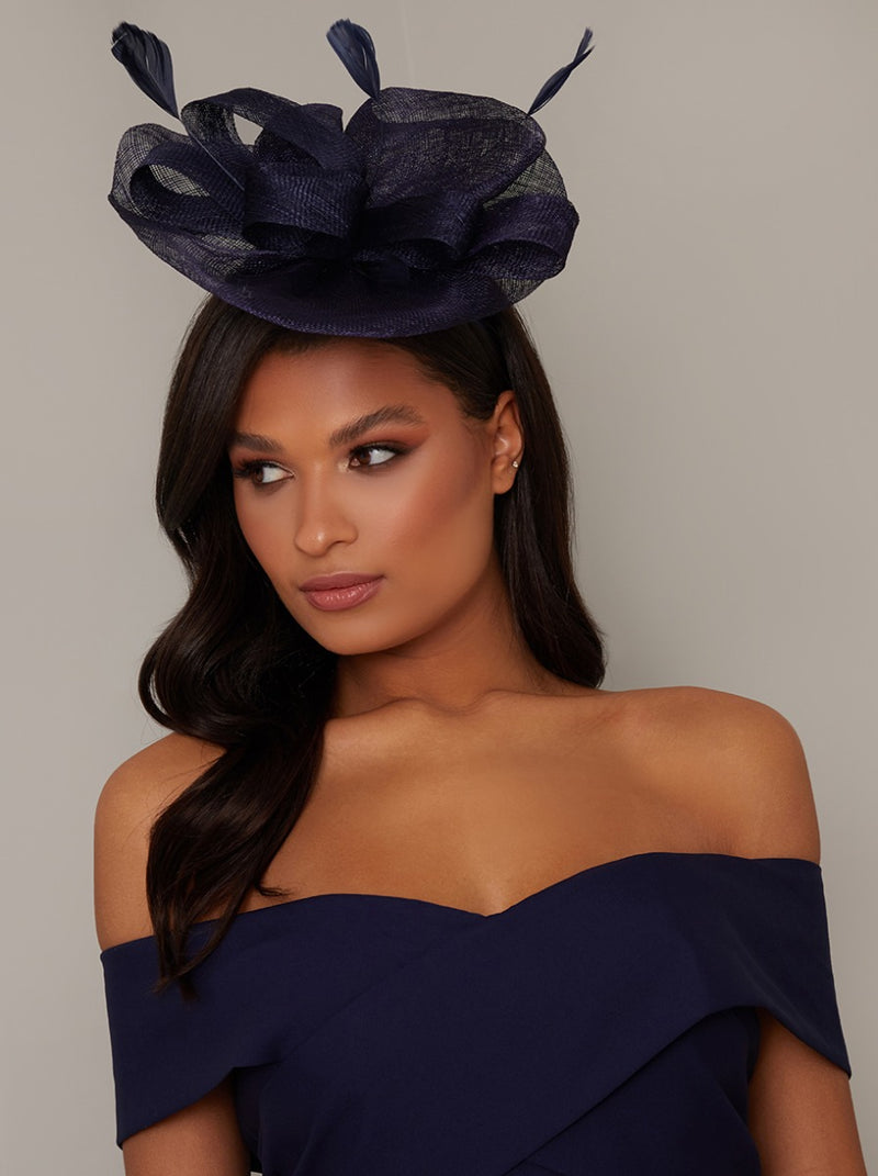 Feather Detail Fascinator in Blue