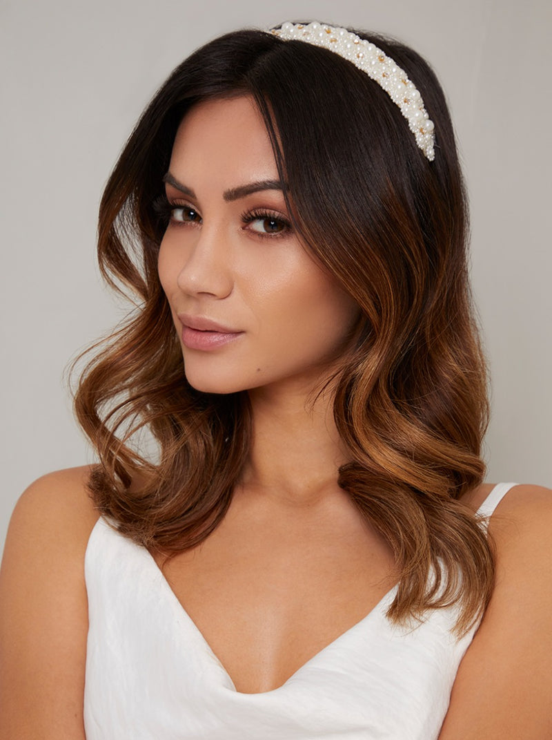 Pearl Detail Headband in Ivory