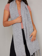 Soft Knit Tassle Scarf in Grey