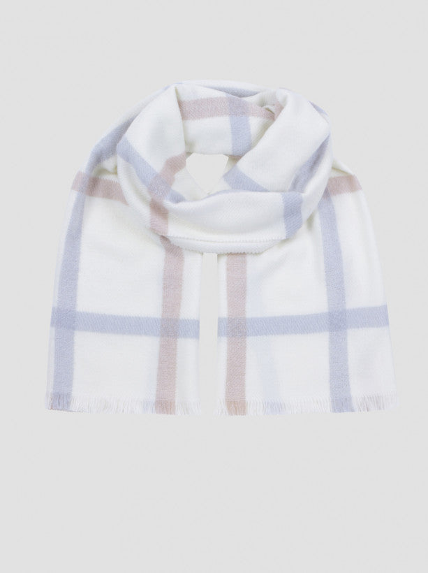 Knitted Check Detailed Scarf in Cream
