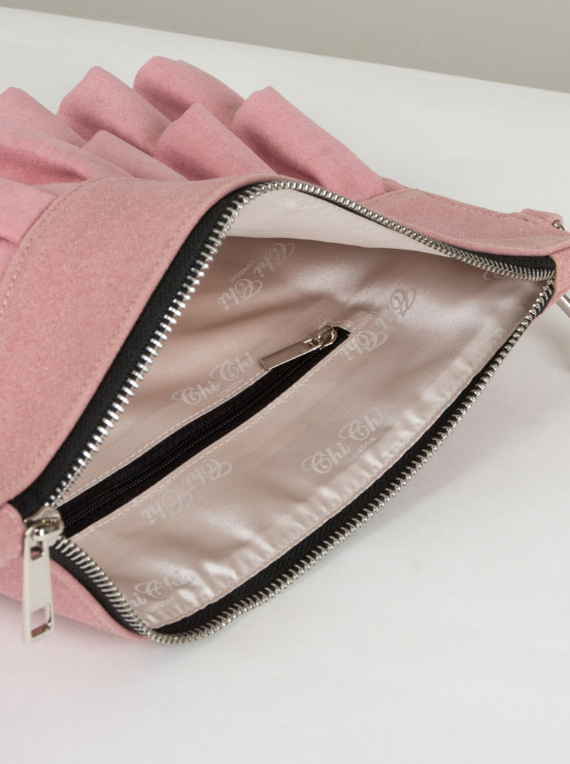 Ruffle Detail Clutch Bag in Pink