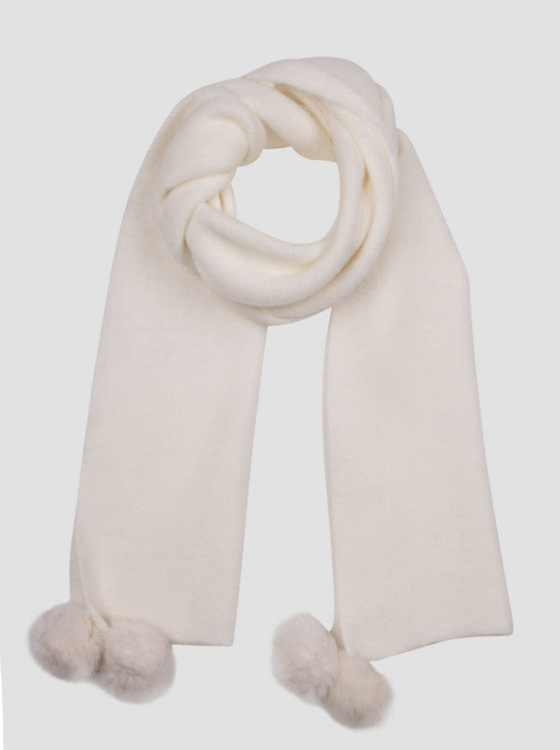 Pom Pom Detail Scarf in Cream