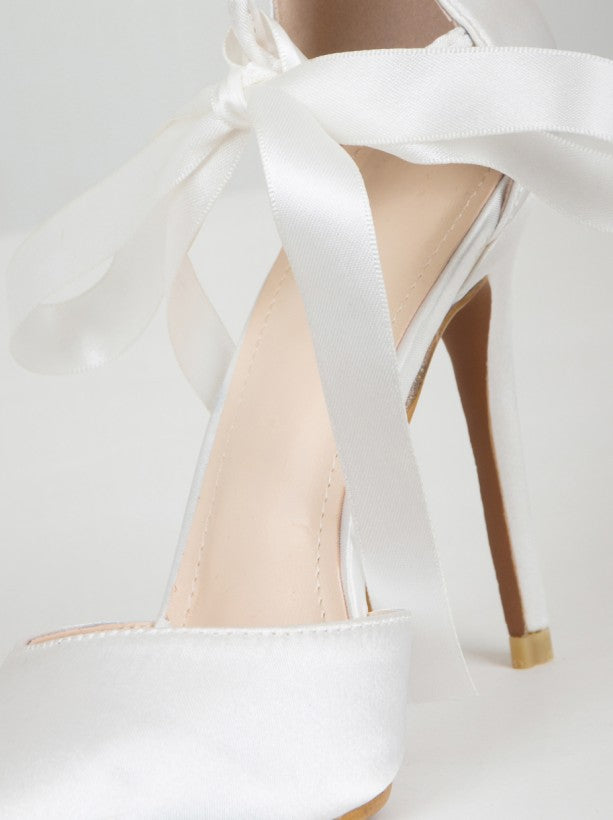 Tie Up Court Heels with Bow Ribbon in White