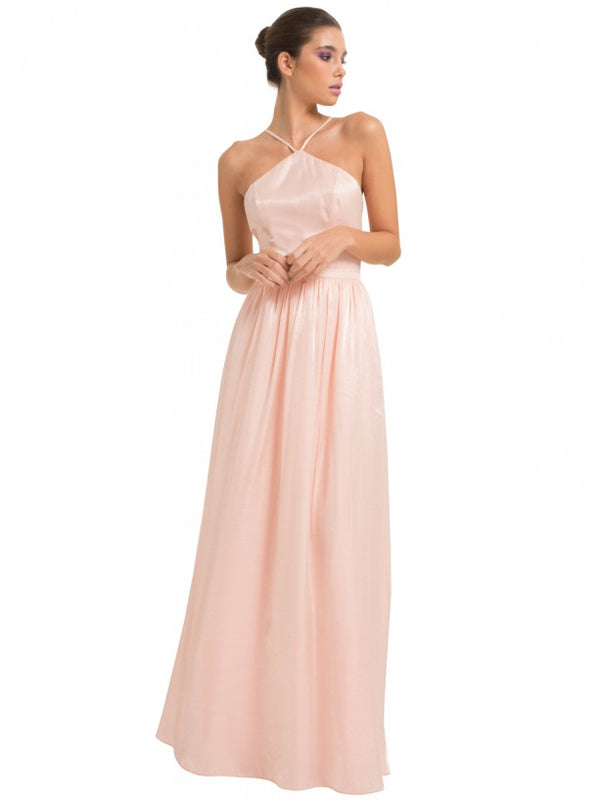 Halterneck Sheen Maxi Dress in Pink