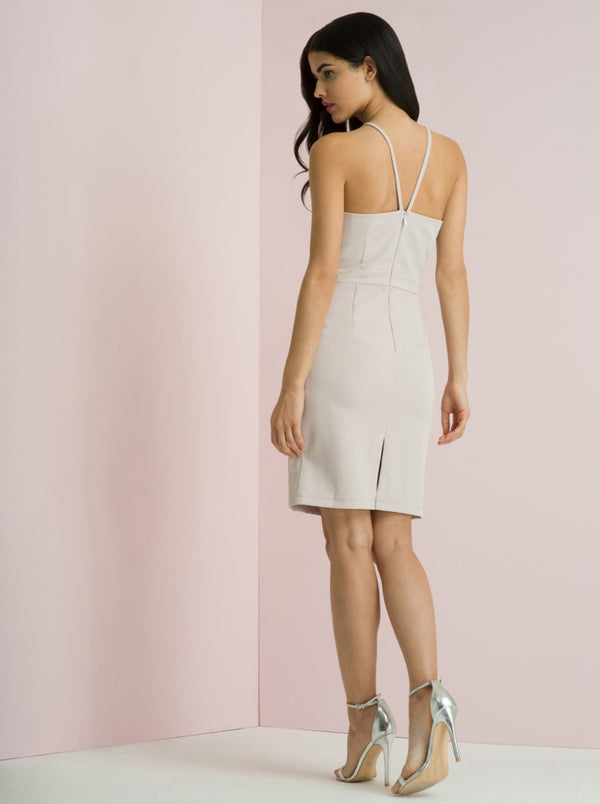 High Neck Cami Strap Bodycon Midi Dress In Lilac