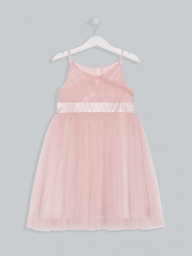 Girls Tulle Satin Detail Dress in Pink