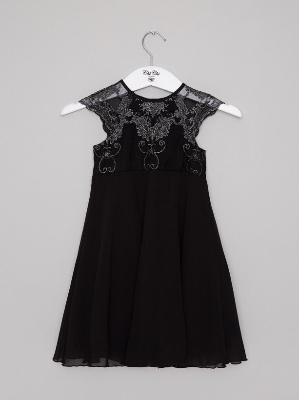 Girls Lace Bodice Party Dress in Black