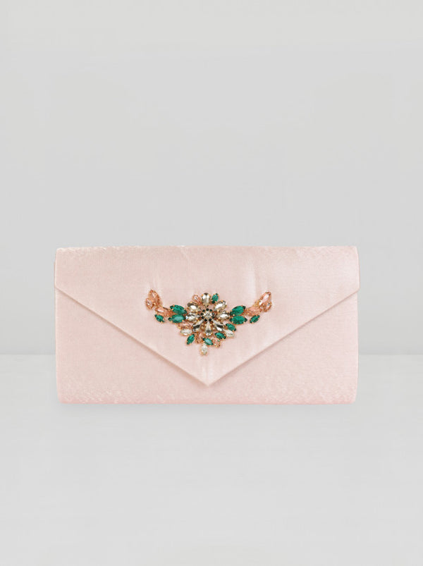 Beaded Gem Clutch Bag in Pink