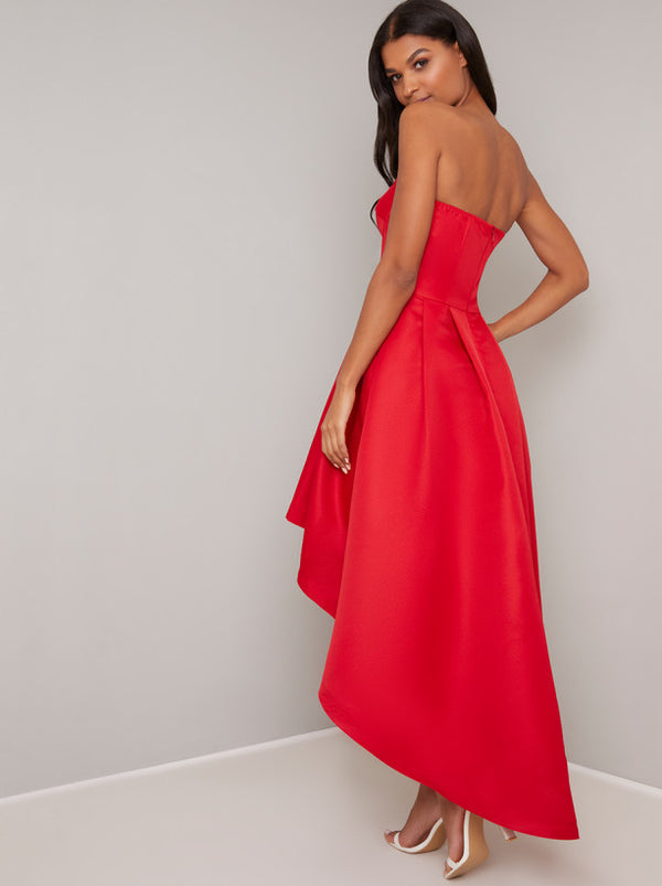 Dip Hem Bandeau Midi Dress In Red