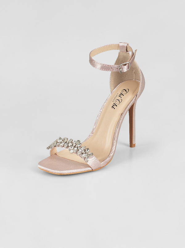 Embellished High Heel Satin Strappy Sandal in Pink