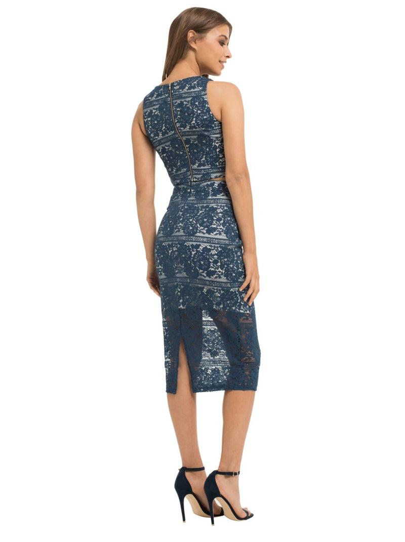 Lace Bodycon Midi Skirt in Blue