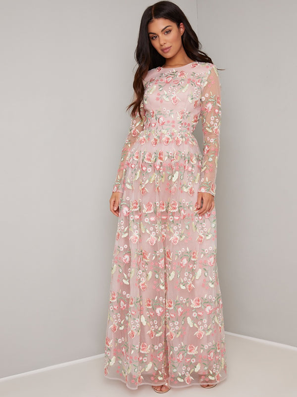 Long Sleeved Floral Embroidered Maxi Dress in Pink