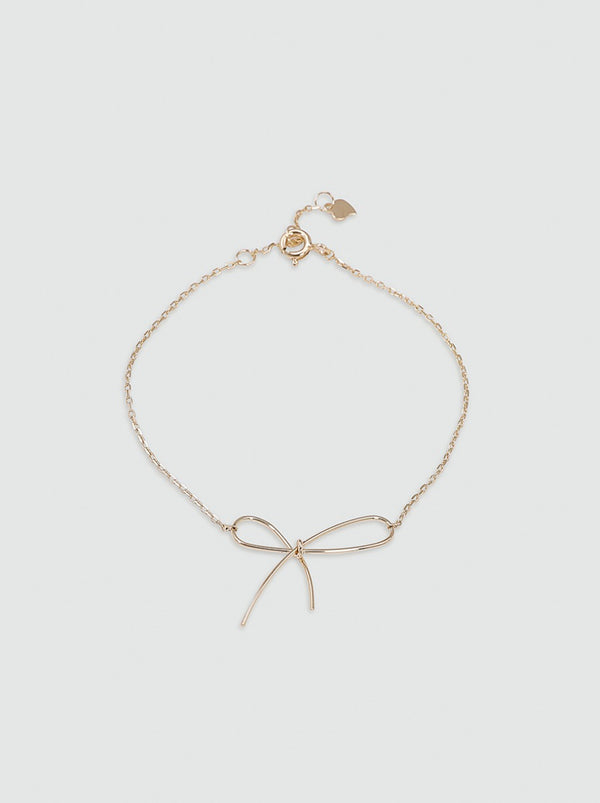 Bow Detail Chain Bracelet in Gold Finish