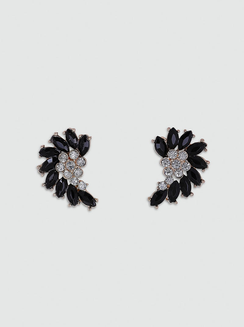 Diamante Contrast Earrings in Black