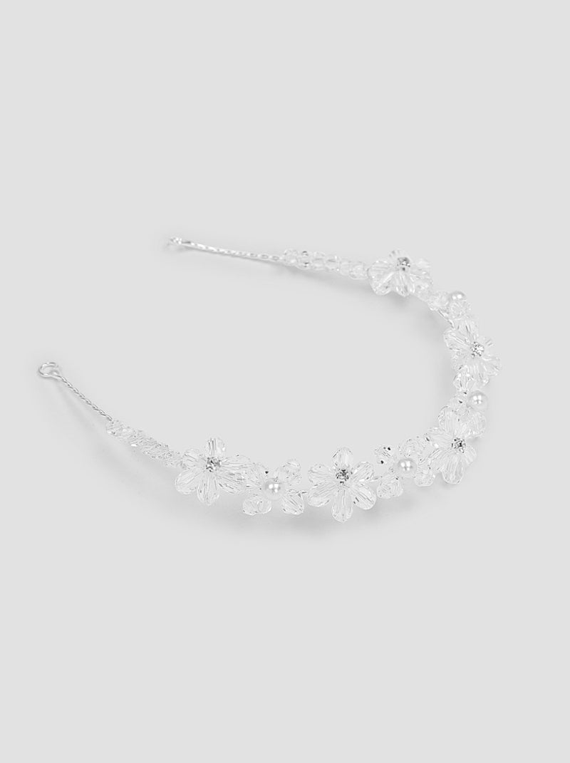 Beaded Floral Hair Piece in Silver