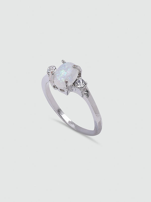 Stone Detail Ring in Silver Tone