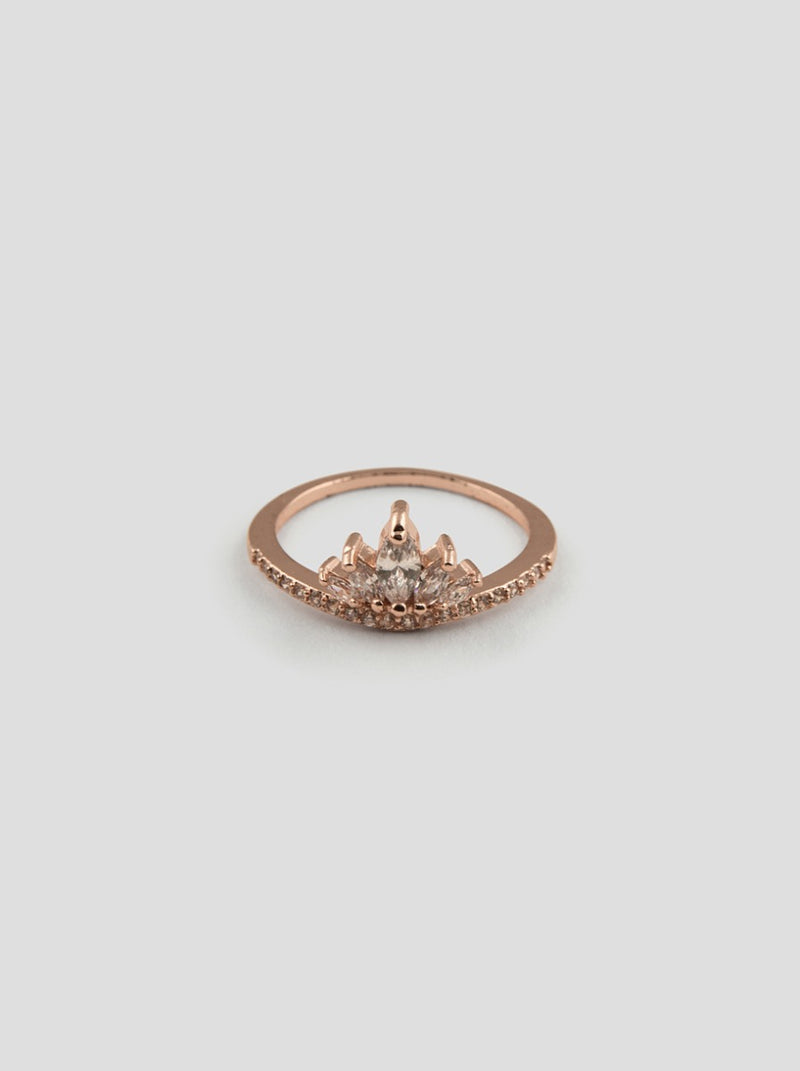 Diamante Crown Ring in Rose Gold Tone