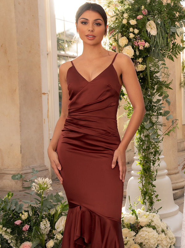 Bodycon Bridesmaid Dress with Dip Hem Fishtail in Orange