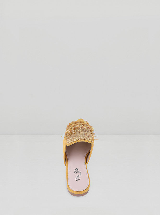 Fringe Detail Mules in Yellow