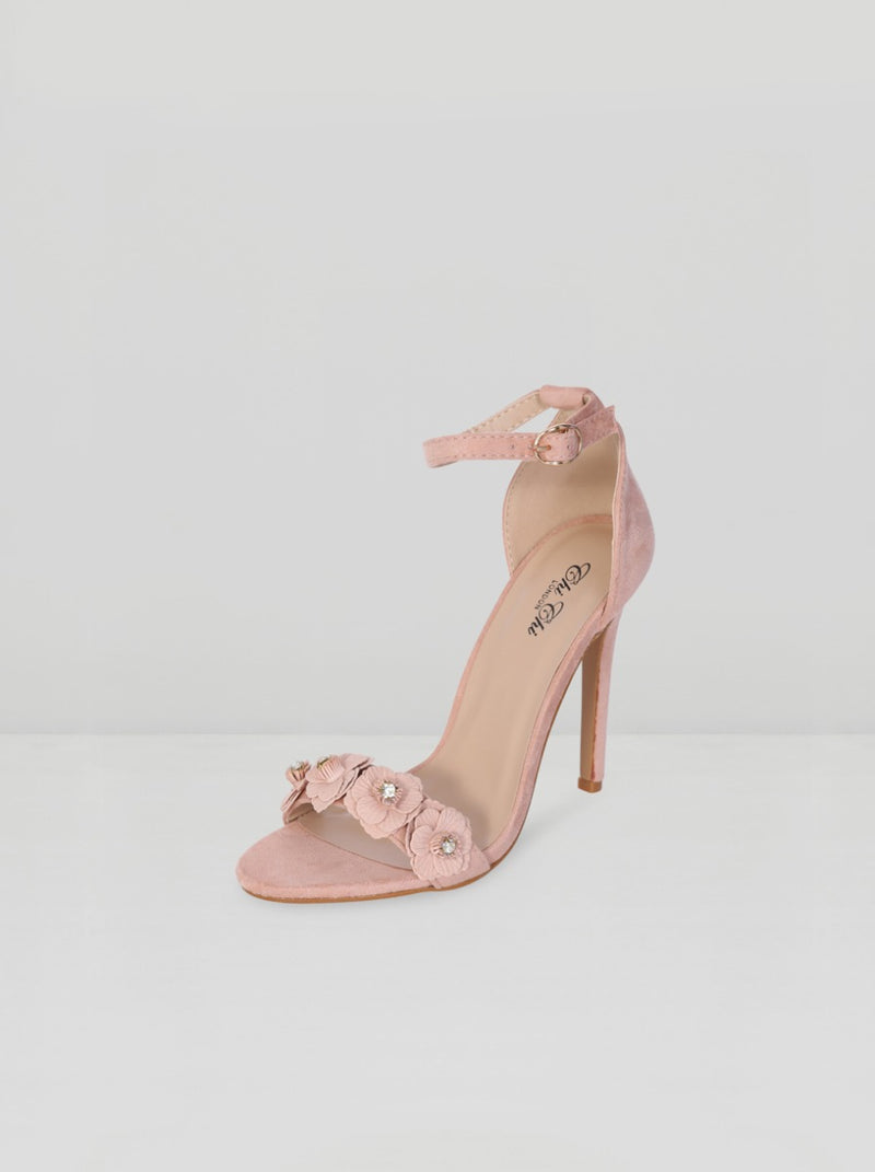 High Heels Flower Strappy Sandal in Pink