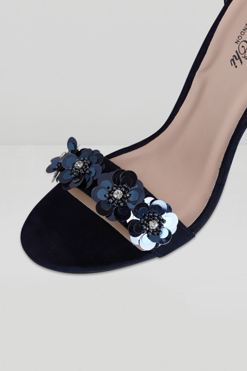 Embellished Strappy Heels with 3D Flowers in Blue