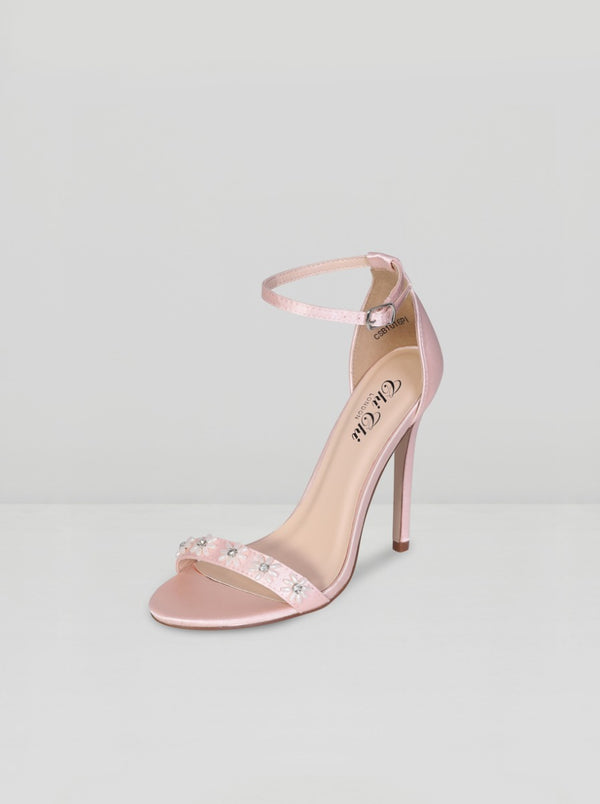Flower Detail High Heel Strappy Sandal in Pink