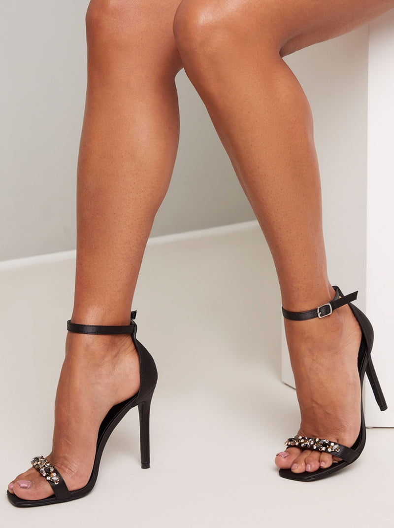 High Heel Satin Diamante Strappy Sandal in Black