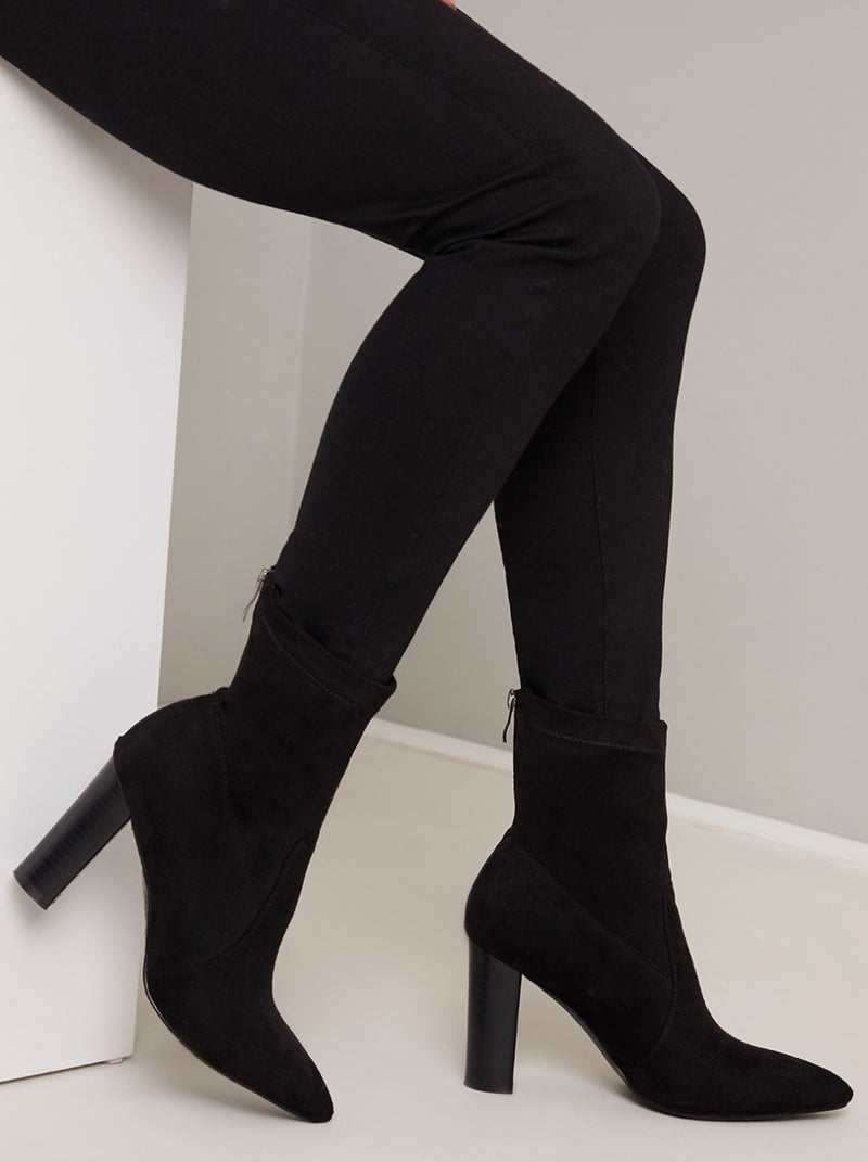 Pointed Toe Suedette Ankle Boots in Black