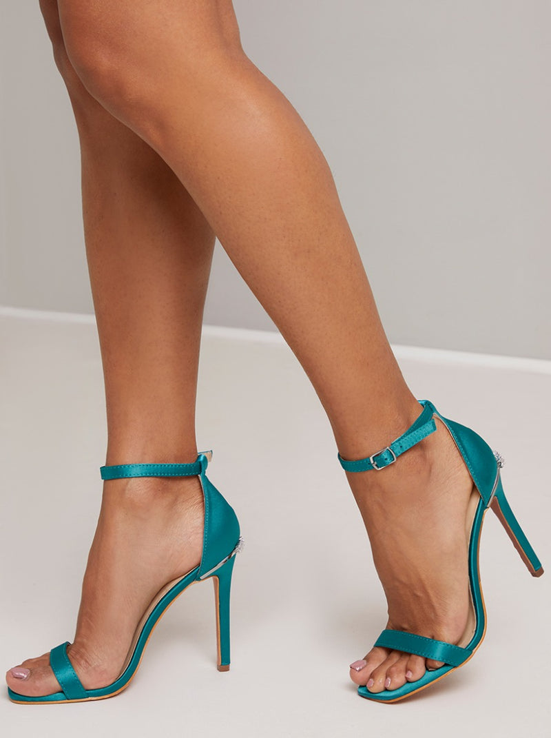 High Heel Strappy Embellished Sandal in Green