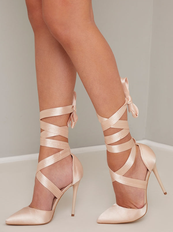 High Heel Ribbon Lace Up Court Shoe in Neutral