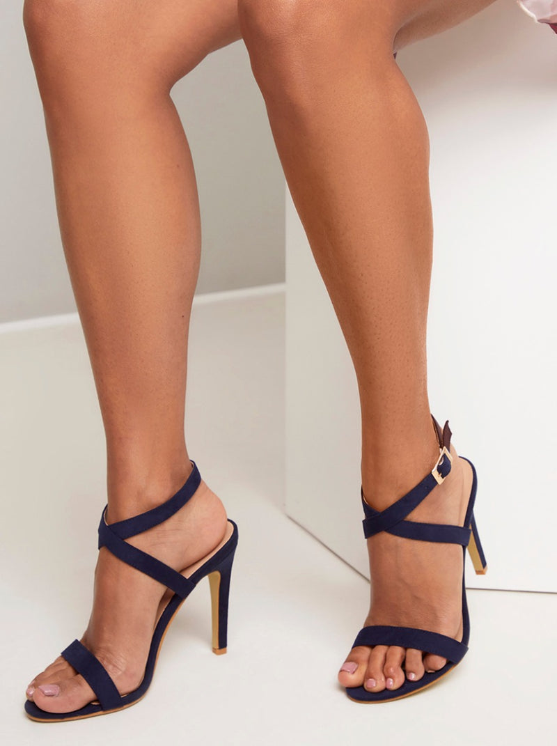High Heel Faux Suede Strappy Sandal in Blue