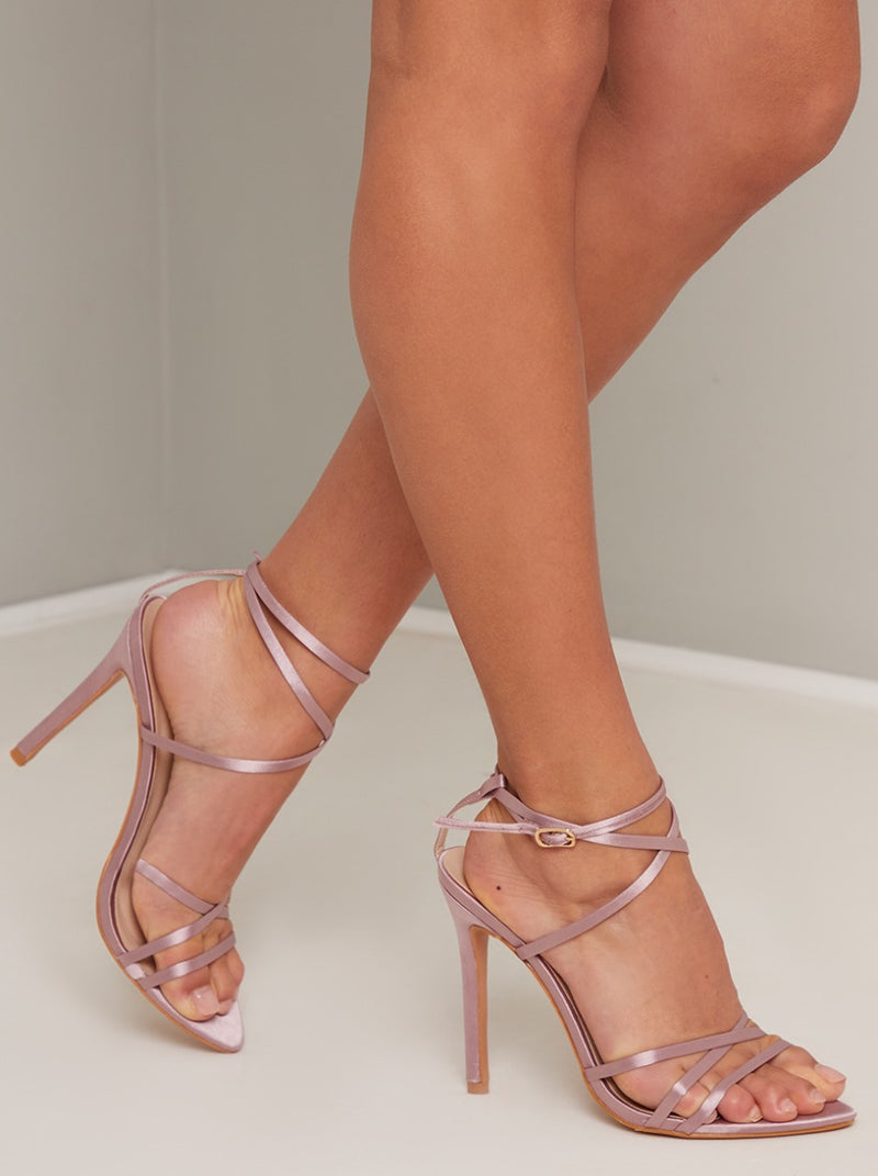 High Heel Strappy Satin Sandal in Pink